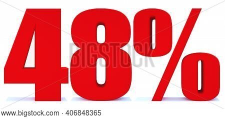 48 Percent Off 3d Sign On White Background, Special Offer 48% Discount Tag, Sale Up To 48 Percent Of