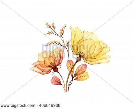 Watercolor Rose Bouquet. Transparent Yellow Flowers With Branch And Leaves Isolated On White. Hand P