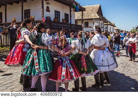 Holloko, Hungary - April 12, 2019 Easter Festival In The Folklore Village Of Holloko Traditional Gir