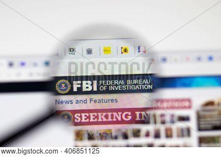 Los Angeles, Usa - 1 February 2021: Fbi Federal Bureau Of Investigation Website Page. Fbi.gov Logo O