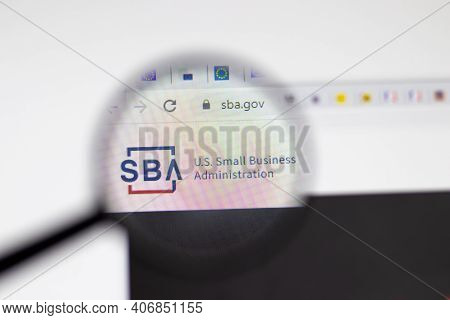 Los Angeles, Usa - 1 February 2021: Us Small Business Administration Sba Website Page. Sba.gov Logo