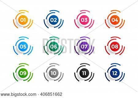 Circle Number Bullet Points Set From One To Twelve