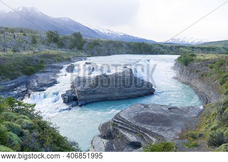 Rio Paine Waterfall View, Torres Del Paine National Park, Chile. Chilean Patagonia Landscape