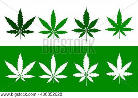 Cannabis Marijuana Weed Leaves Set In Flat Style