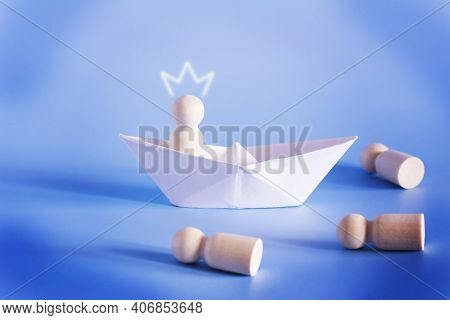 Winner Left Contestants Behind. Leader On Ship, Defeated Overboard. Luck, Goal Achievement, Successf