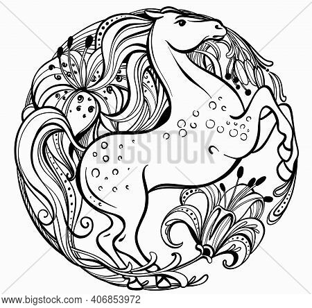 Romantic Black And White Vector Illustration Of Graceful Line In The Shape Of A Circle. A Beautiful