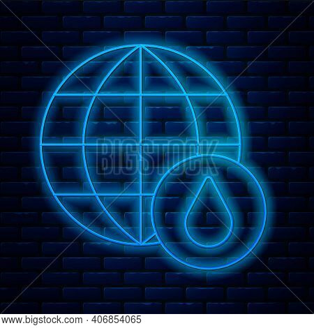 Glowing Neon Line Earth Planet In Water Drop Icon Isolated On Brick Wall Background. World Globe. Sa