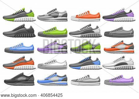 Vector Sneakers Set, 20 Cut Out Illustrations Of Different Multi Colored, Black And White Football A