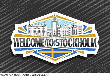 Vector Logo For Stockholm, White Decorative Tag With Line Illustration Of Stockholm City Scape On Da