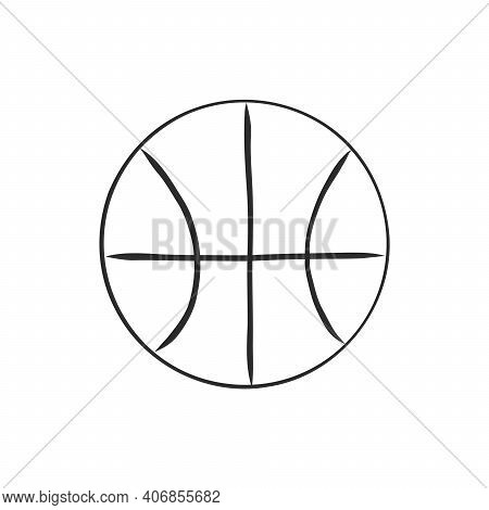 Illustration Of A Basketball Outline Isolated In White Background. Basketball Ball, Vector Sketch Il