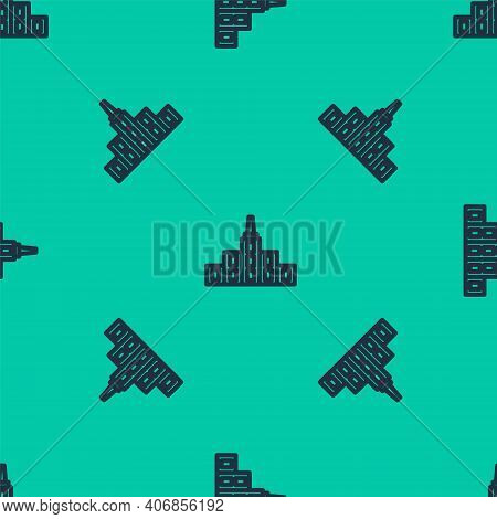 Blue Line City Landscape Icon Isolated Seamless Pattern On Green Background. Metropolis Architecture