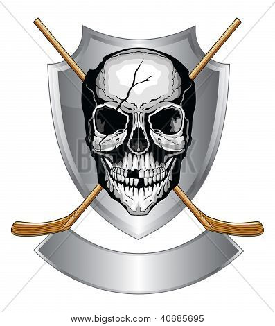 Illustration of a human skull with broken teeth and cracked cranium with two crossed ice hockey sticks on a shield with banner. poster