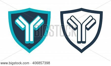 Antibody Y-shaped Immunoglobulin. Emblem In Shield Shape - Protein That Used By The Immune System To