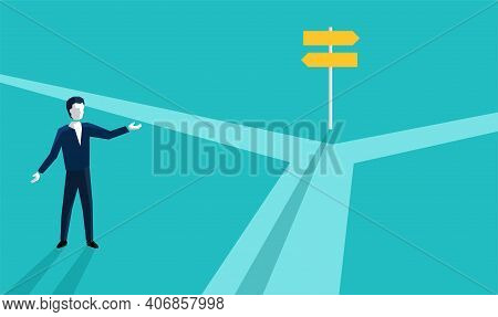 Correct Decision Chosing - Confused Man Character Standing On The Crossroads And Looking At Signpost