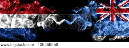 Netherlands Vs New Zealand, Ross Dependency Smoky Mystic Flags Placed Side By Side. Thick Colored Si