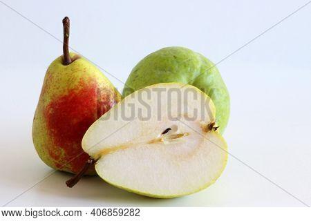 Pears Harvest. Fruit Background. Fresh Organic Pears On White Table. Pear Autumn Harvest. Juicy, Fla