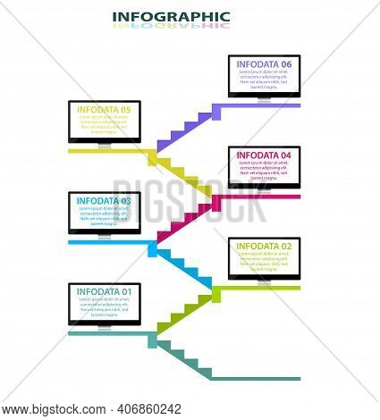 Staircase With A Monitor Screen On The Floor For Infographic Design. Information Graphics Template.