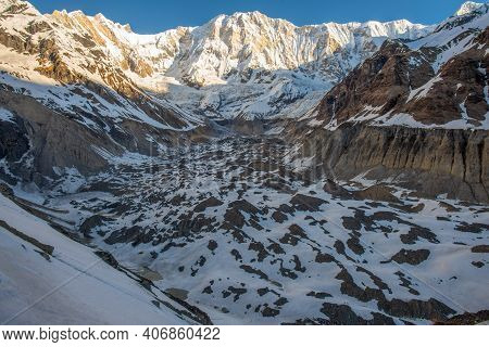 View Of Annapurna I (8,091 M) With Disappearing Annapurna Glaciers. The Melting Of Himalayan Glacier