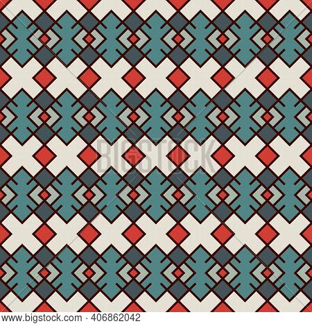 Ethnic, Tribal Seamless Surface Pattern. Embroidery Ornament. Folk Background. Repeated Geometric Sy