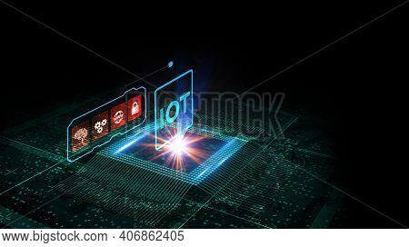 Internet Of Things - Iot Concept. Businessman Offer Iot Products And Solutions.3d Illustration