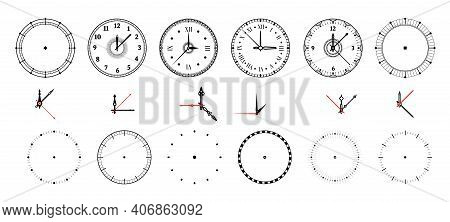 Clock Face. Vintage And Modern Watch Dial With Decorative And Minimal Arrows. Roman Or Arabic Numera