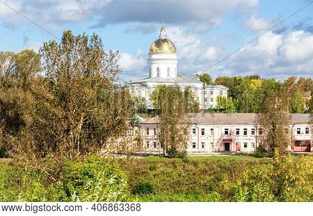 View On The Trinity Orthodox Cathedral In Summer Day In Borovichi, Russia