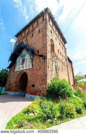 Russian Traditional Medieval Architecture. Pyatnitsky Gate (pyatnitskaya Tower) Of Kolomna Kremlin,