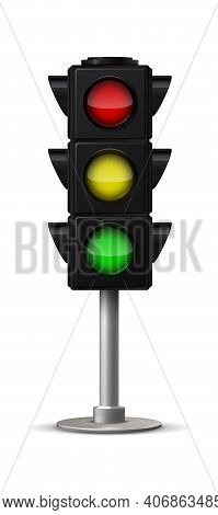 Realistic City Traffic Light. Vector Stoplight With Green Yellow And Red Colors Urban Road And Inter