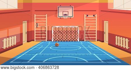 School Gym. Gymnasium Basketball Court And Campus Soccer Arena. Comfortable Hall For Kids Active Gam