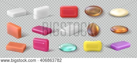Realistic Soap. 3d Detergent. Cosmetic Product For Hygienic Skincare. View From Different Sides Of T