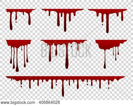 Red Dripping Stain. Liquid Paint Splash. Spooky Flowing Blood Set. Scary Current Inky Templates On T