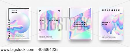 Holographic Posters. Gradient Minimal Iridescent Foil Graphic Mesh, Neon Purple And Pink 90s Trendy