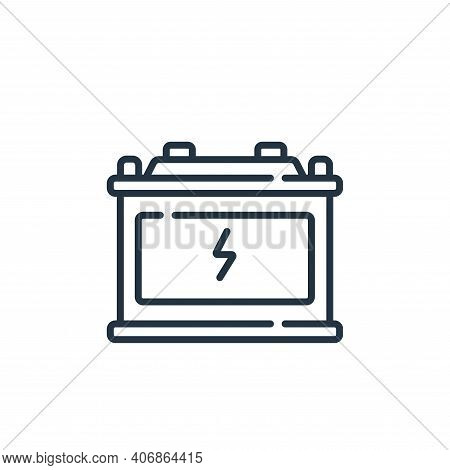 battery icon isolated on white background from auto racing collection. battery icon thin line outlin