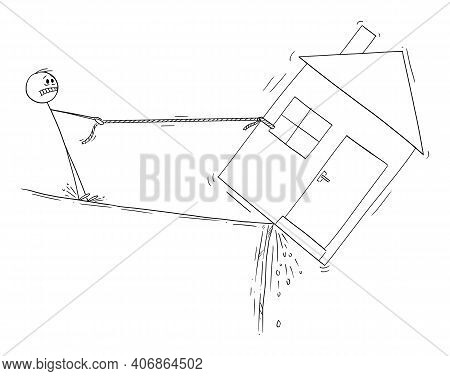 Man Trying To Save His House, Loam Mortgage Or Dept Financial Concept, Vector Cartoon Stick Figure O