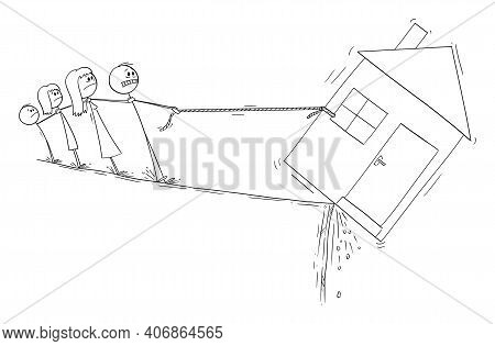 Family Trying To Save His House, Loan Mortgage Or Dept Financial Concept, Vector Cartoon Stick Figur