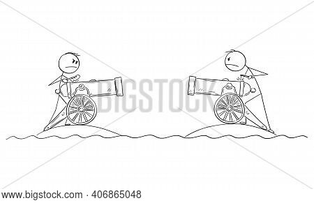 Two Men With Field Artillery Guns Fighting In War From Separated Islands, Vector Cartoon Stick Figur