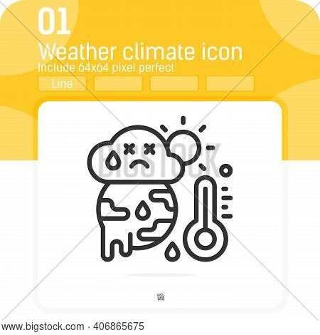 Weather Climate Icon Concept With Line Style Isolated On White Background. Vector Linear Illustratio