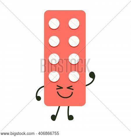 Funny Medicine Pills Character Happiness. Humor Medical Emoticons Pills Cheerful. Cartoon Work Emoji