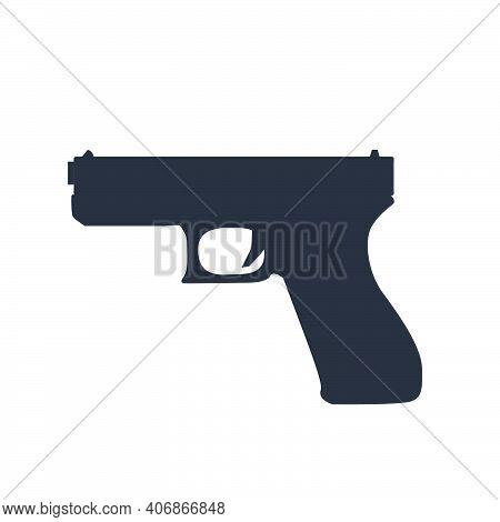 Pistol Gun Weapon Vector Illustration Black Crime Handgun. War Pistol Trigger Icon Bullet. Isolated