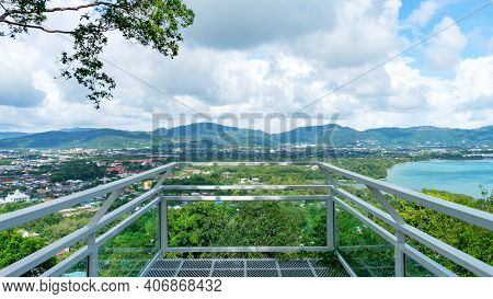 Terrace Over Looking View With A Beautiful Landscape Scenery View Of Tropical Sea And Mountain Blue
