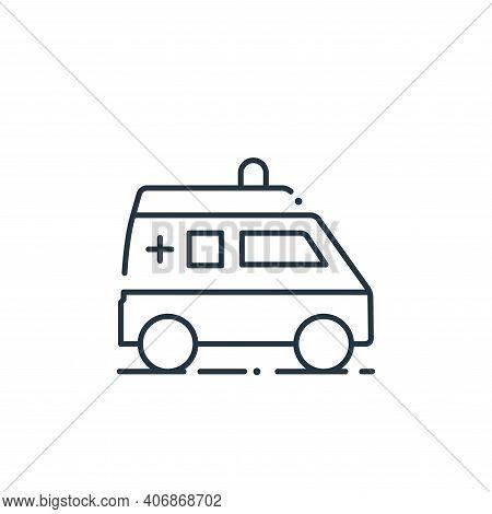 ambulance icon isolated on white background from coronavirus collection. ambulance icon thin line ou