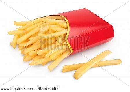 French Fries Or Fried Potatoes In A Red Carton Box Isolated On White Background With Clipping Path A