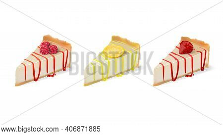 Realistic Vector Cheesecake Slices With Raspberry Lemon And Strawberry Fillings Isolated On White Ba