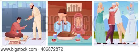 Flat Compositions Set With Muslims Doing Charity Praying Before Iftar Greeting During Ramadan Isolat