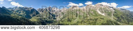 Panoramic Aerial View Of Grossglockner Hohe Tauern Mountain Range From High Alpine Road In Austria T