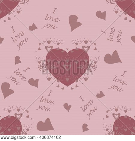 Seamless Pattern For Valentine's Day, Declaration Of Love With Little Hearts And Text In English Lan