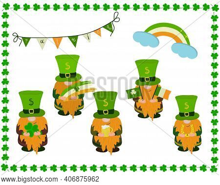 Set, A Group Of Elves Dressed As St. Patrick's Day, Rainbow And Holiday Flags.