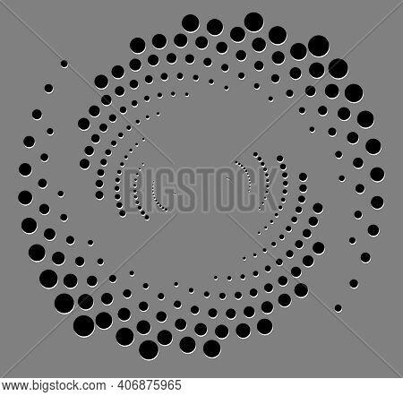 Black Halftone Dots In Vortex Form. Geometric Art. Trendy Design Element For Frame, Logo, Sign, Symb
