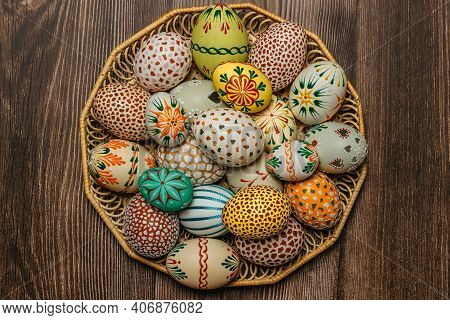Happy Easter.colorful Hand Painted Decorated Easter Eggs, Cz Kraslice. Handmade Easter Eggs In Woode