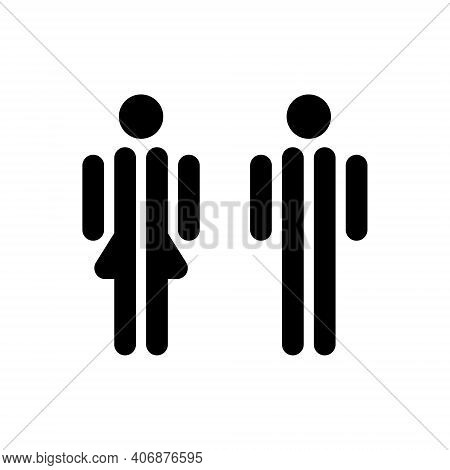 Male And Female Sign For Restroom. Man And Woman Icon. Vector Toilet Symbol Isolated. Girl And Boy W
